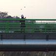 橋の上でジャグリング